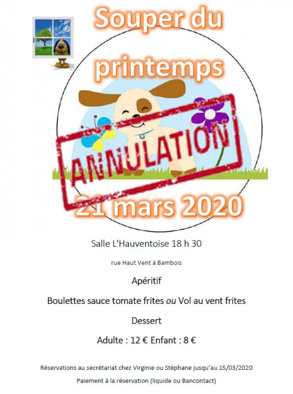 Annulation souper printemps 2020