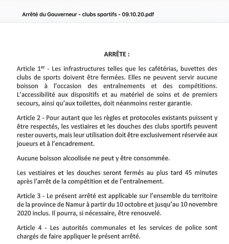 Arrete gouverneur namur 20201009